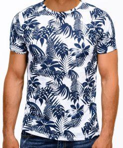 Balti gėlėti marškinėliai vyrams trumpomis rankovėmisi internetu pigiau S1165 13501-4