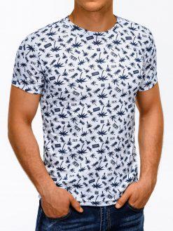Balti marškinėliai vyrams su aplikacija internetu pigiau S1166 13502-2
