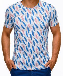 Balti marškinėliai vyrams su aplikacija internetu pigiau S1169 13505-2