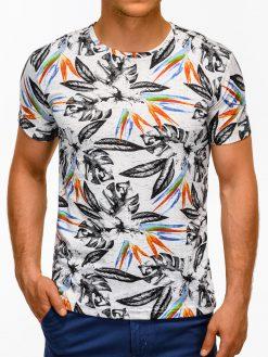 Balti marškinėliai vyrams su aplikacijomis internetu pigiau S1171 13506-2