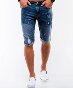 Tamsiai mėlyni džinsiniai šortai vyrams internetu pigiau W215 13507