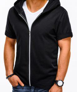 Juodas džemperis vyrams trumpomis rankovėmis su gobtuvu internetu pigiau B960 13508-2