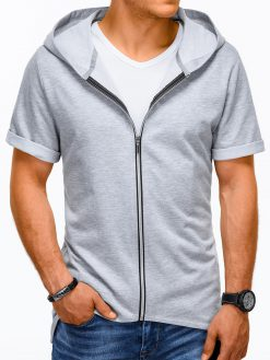 Pilkas vyriškas džemperis trumpomis rankovėmis vyrams internetu pigiau B960 13510-1