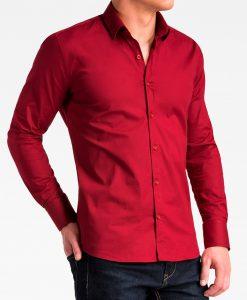Tamsiai raudoni marškiniai vyrams internetu K504 13512-3
