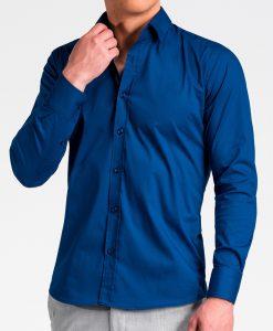 Tamsiai mėlyni marškiniai vyrams internetu K504 13517-4