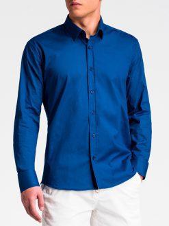 Tamsiai mėlyni marškiniai vyrams ilgomis rankovėmis internetu pigiau K505 13519-3