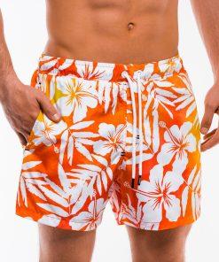 Oranžiniai gėlėti paplūdimio šortai vyrams internetu pigiau W147 13527-4