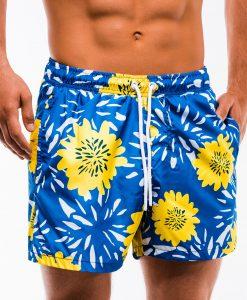 Mėlyni gėlėti paplūdimio šortai vyrams internetu pigiau W146 13537-4