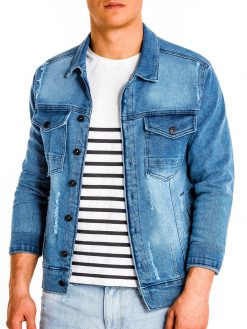 Mėlyna džinsinė striukė vyrams internetu pigiau C404 13540-3