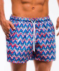 Mėlyni marginti paplūdimio šortai vyrams internetu pigiau W151 13547-4