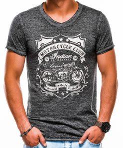 Pilki vyriški marškinėliai su užrašu internetu pigiau S1136 13555-1