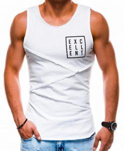 Balti vyriški marškinėliai be rankovių su užrašu S1174 13564-1