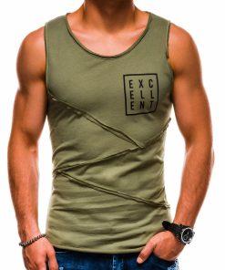 Chaki vyriški marškinėliai be rankovių su užrašu vyrams internetu pigiau S1174 13567-3