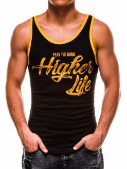 Juodi vyriški marškinėliai be rankovių su užrašu S1175 13570-4