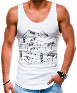 Balti vyriški marškinėliai be rankovių su užrašais S1178 13596-1