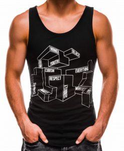 Juodi vyriški marškinėliai be rankovių su užrašais S1178 13597-1