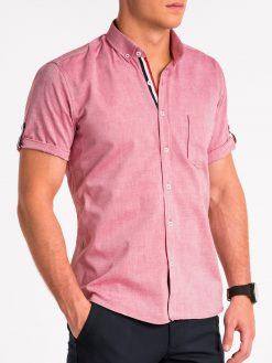 Raudoni vyriški marškiniai trumpomis rankovėmis internetu pigiau K489 13611-5