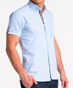 Šviesiai mėlyni vyriški marškiniai trumpomis rankovėmis internetu pigiau K489 13613-4