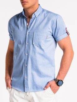 Mėlyni vyriški marškiniai trumpomis rankovėmis internetu pigiau K489 13614-4
