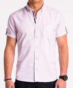 Šviesiai rožiniai vyriški marškiniai trumpomis rankovėmis internetu pigiau K489 13615-5
