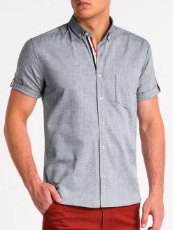 Pilki vyriški marškiniai trumpomis rankovėmis internetu pigiau K489 13616-1