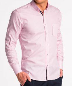Rožiniai marškiniai vyrams ilgomis rankovėmis internetu K490 13618-5