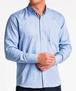 Mėlyni marškiniai vyrams ilgomis rankovėmis K490 13619-5