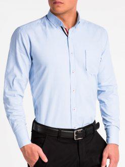 Šviesiai mėlyni marškiniai vyrams ilgomis rankovėmis K490 13620-5