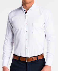 Balti marškiniai vyrams ilgomis rankovėmis K490 13621-5