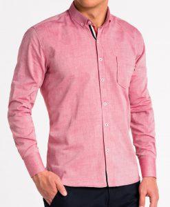 Raudoni marškiniai vyrams ilgomis rankovėmis internetu pigiau K490 13622-5