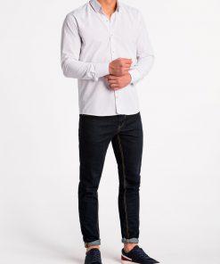 Balti taškuoti vyriški marškiniai ilgomis rankovėmis internetu pigiau K468 13632-3