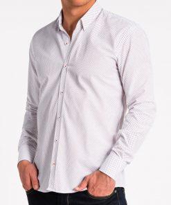 Balti taškuoti marškiniai vyrams ilgomis rankovėmis internetu pigiau K468 13632