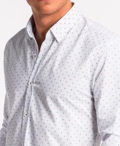 Balti taškuoti vyriški marškiniai internetu pigiau K470 13636-4