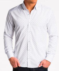 Balti taškuoti marškiniai vyrams internetu pigiau K470 13636-5