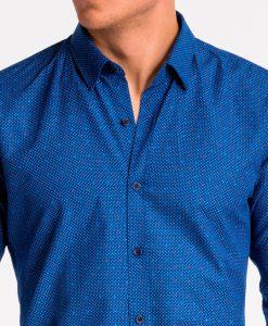 Tamsiai mėlyni taškuoti vyriški marškiniai internetu pigiau K470 13637-4