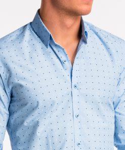 Šviesiai mėlyni taškuoti vyriški marškiniai internetu pigiau K470 13638-4