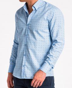Šviesiai mėlyni taškuoti marškiniai vyrams internetu pigiau K470 13638-5