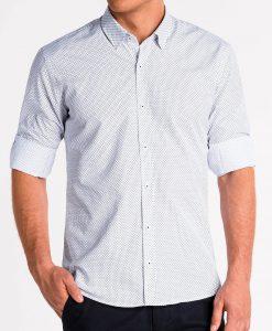 Balti marškiniai vyrams ilgomis rankovėmis internetu pigiau K479 13642-5