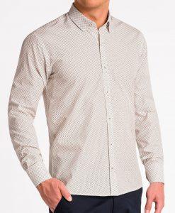 Smėlio marškiniai vyrams ilgomis rankovėmis internetu pigiau K479 13643-6