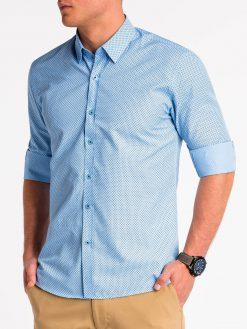 Šviesiai mėlyni marškiniai vyrams ilgomis rankovėmis internetu pigiau K479 13644-2