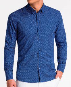 Tamsiai mėlyni marškiniai vyrams ilgomis rankovėmis internetu pigiau K479 13645-4