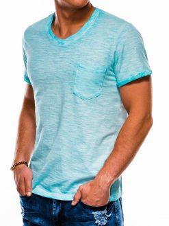 Šviesiai mėlyni vienspalviai vyriški marškinėliai akcija S1053 13669-3