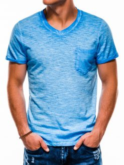 Mėlyni vienspalviai vyriški marškinėliai akcija S1053 13670-4