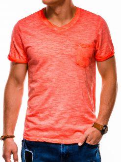 Oranžiniai vienspalviai vyriški marškinėliai akcija S1053 13671-3