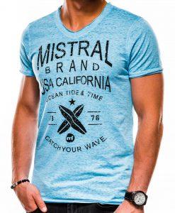 Mėlyni vyriški marškinėliai su užrašu ir aplikacija internetu S1142 13674-2