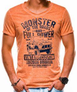 Oranžiniai vyriški marškinėliai su užrašu ir aplikacija akcija internetu S1144 13676-2
