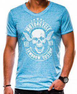 Mėlyni vyriški marškinėliai su kaukole ir užrašais S1147 1367-1
