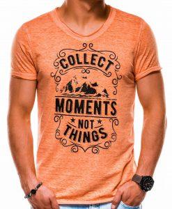 Oranžiniai vyriški marškinėliai su užrašu ir aplikacija S1148 13680-1