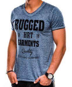 Tamsiai mėlyni vyriški marškinėliai su užrašu S1149 13681-3