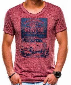 Tamsiai raudoni vyriški marškinėliai su užrašu ir aplikacija internetu S1150 13682-2